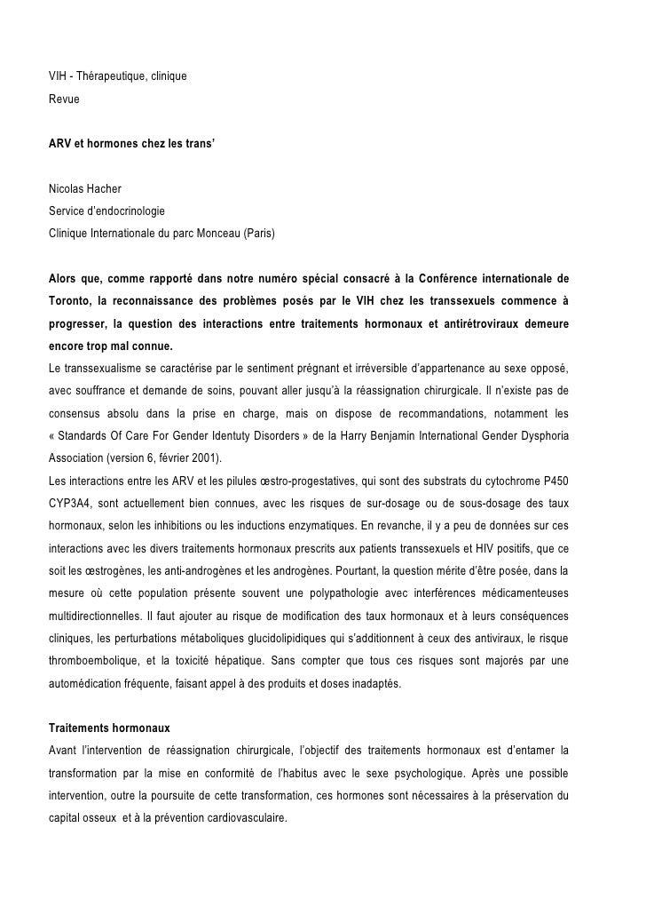 VIH - Thérapeutique, clinique Revue   ARV et hormones chez les trans'   Nicolas Hacher Service d'endocrinologie Clinique I...