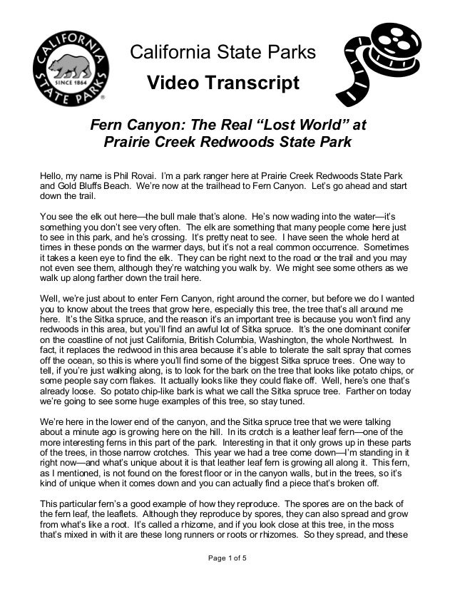 """Page 1 of 5 California State Parks Video Transcript Fern Canyon: The Real """"Lost World"""" at Prairie Creek Redwoods State Par..."""