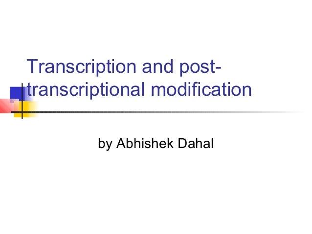 Transcription and post-transcriptional modification.