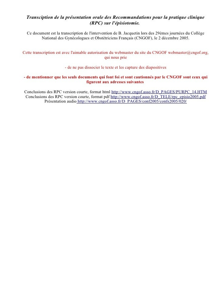 Episiotomy clinical guidelines France 2005