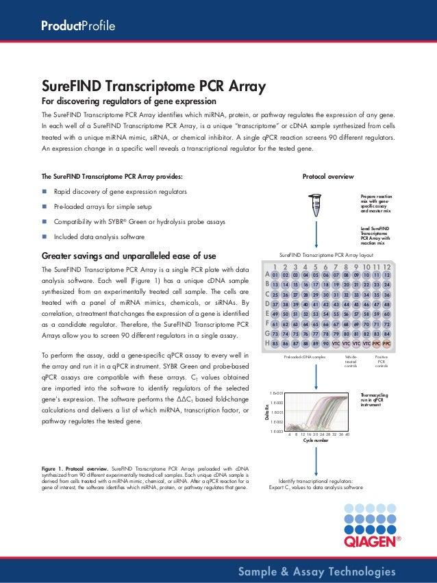 ProductProfile  SureFIND Transcriptome PCR Array For discovering regulators of gene expression The SureFIND Transcriptome ...