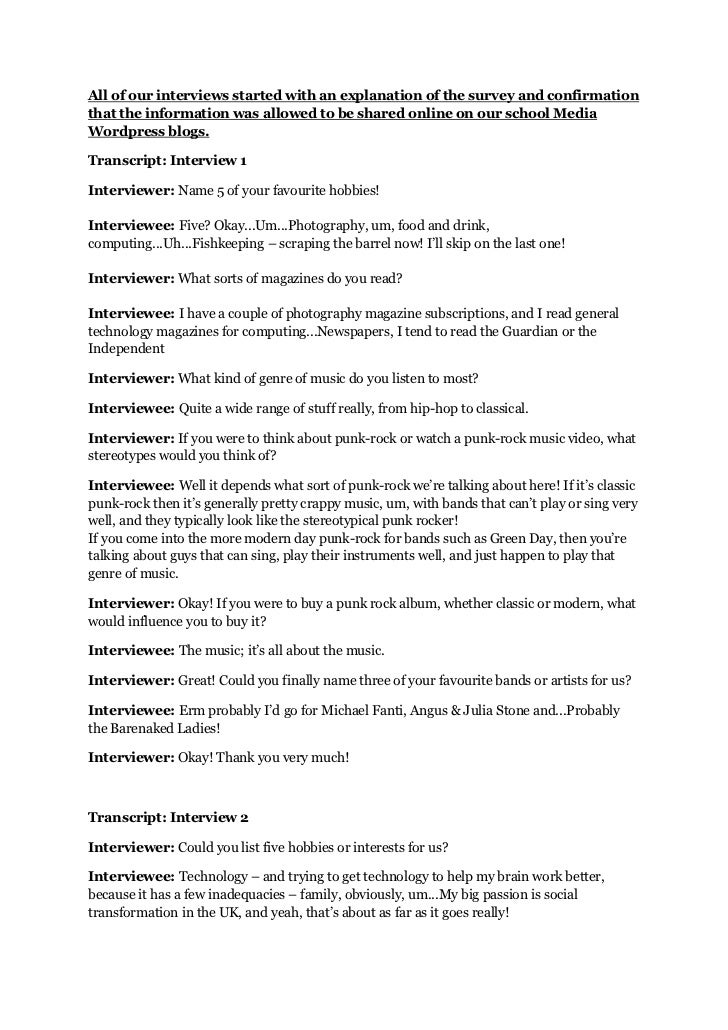 Transcripts of the interview