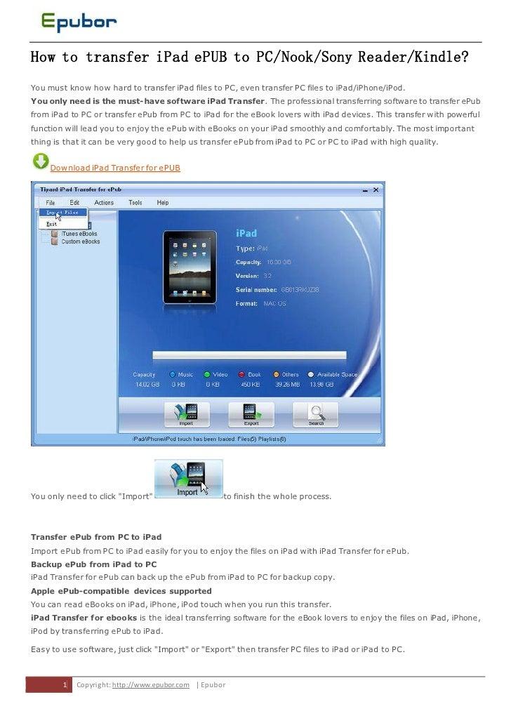 Transfer ipad-epub-to-pc