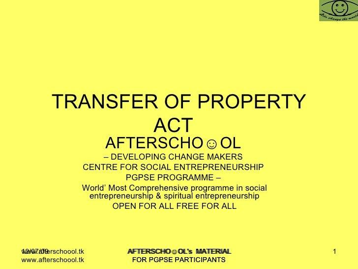Tran Sfer Of Property Act