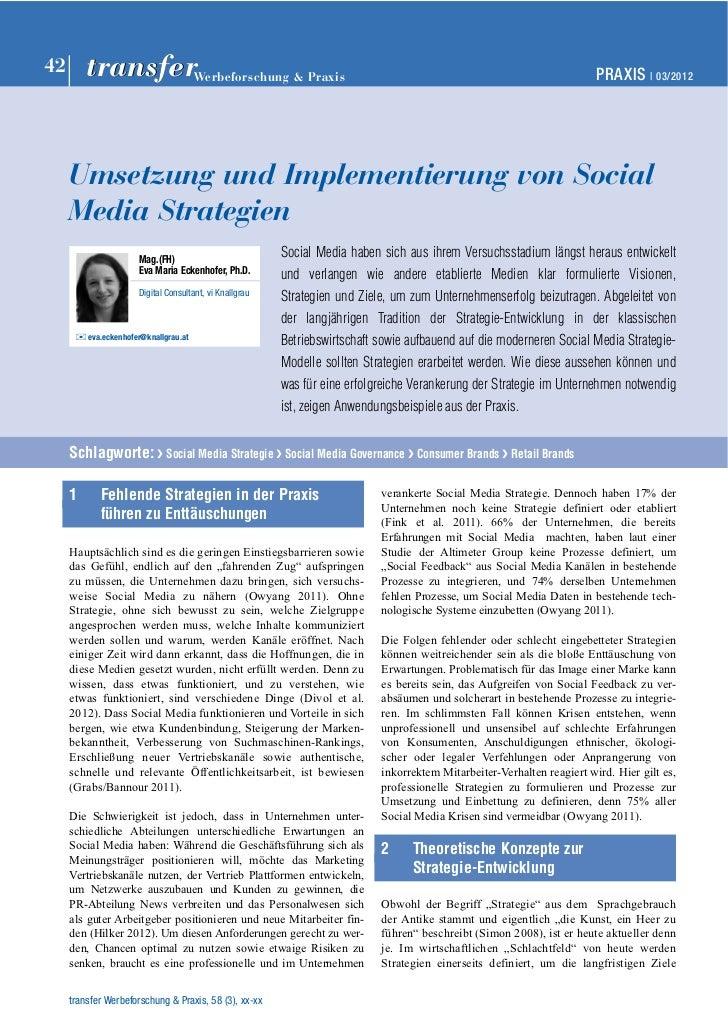 Umsetzung und Implementierung von Social Media Strategien