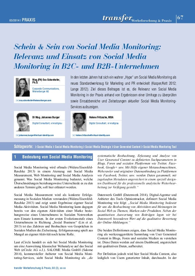 03/2014   PRAXIS 67 Werbeforschung & Praxis transfer  Schein & Sein von Social Media Monitoring:  Relevanz und Einsatz von...