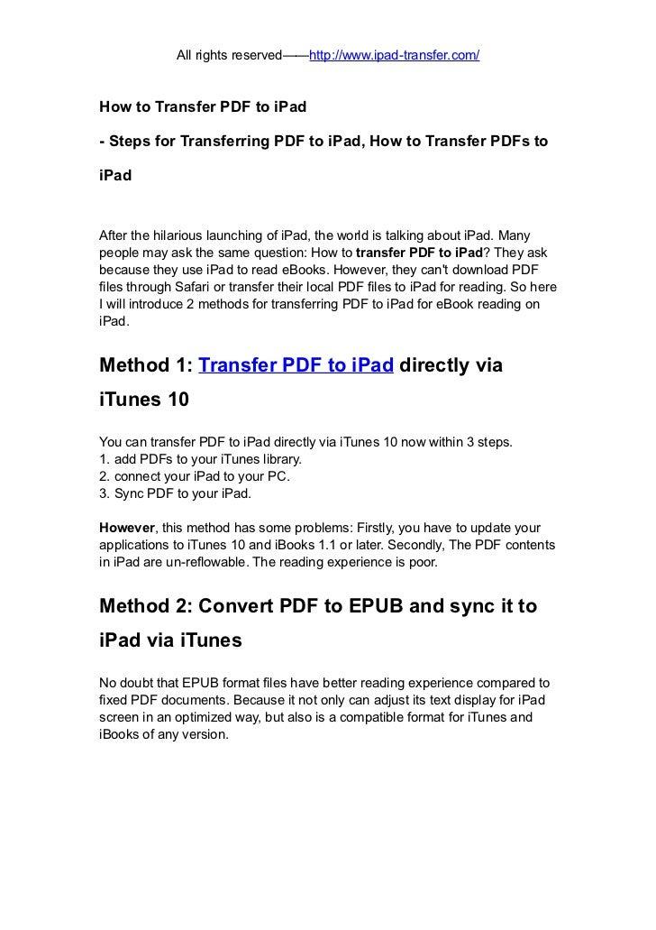 Transfer pdf to ipad