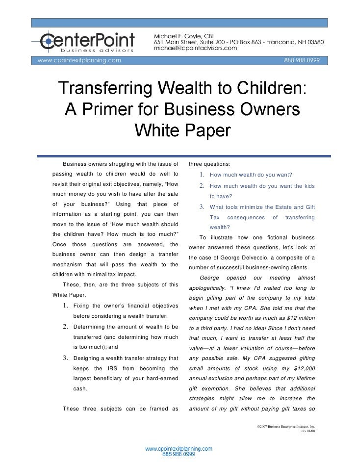 Transferring Wealth to                Children:      A Primer for Business Owners              White Paper      Business o...