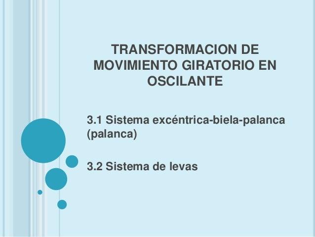 TRANSFORMACION DE MOVIMIENTO GIRATORIO EN        OSCILANTE3.1 Sistema excéntrica-biela-palanca(palanca)3.2 Sistema de levas