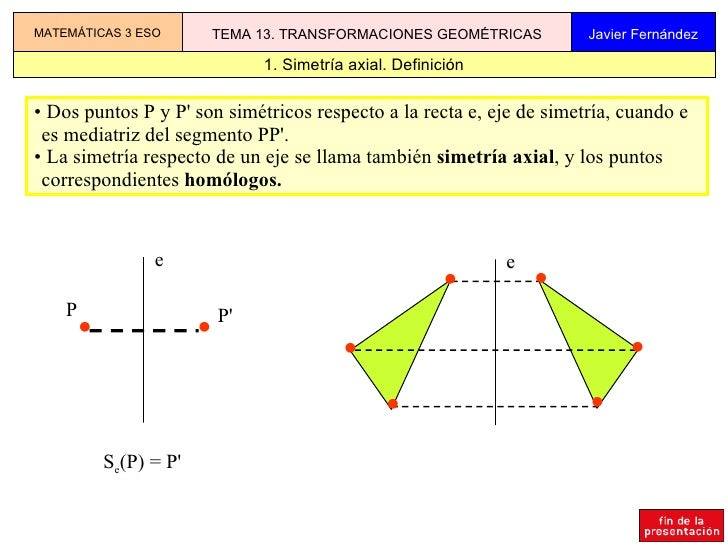 1. Simetría axial. Definición MATEMÁTICAS 3 ESO TEMA 13. TRANSFORMACIONES GEOMÉTRICAS Javier Fernández <ul><li>Dos puntos ...
