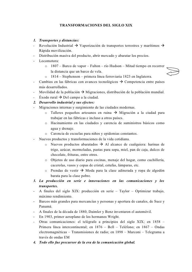 TRANSFORMACIONES DEL SIGLO XIX1. Transportes y distancias:- Revolución Industrial  Vaporización de transportes terrestres...