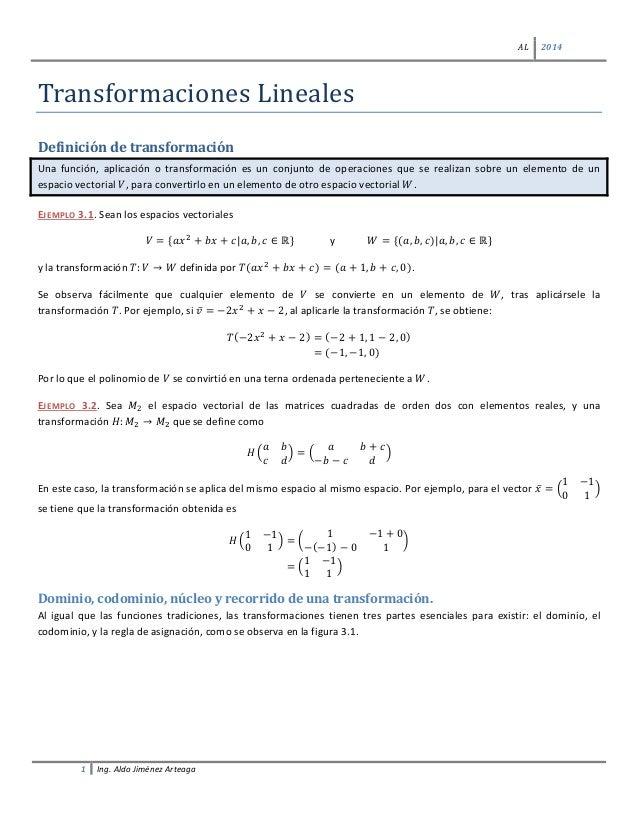 AL 2014 1 Ing. Aldo Jiménez Arteaga Transformaciones Lineales Definición de transformación Una función, aplicación o trans...