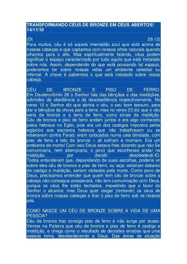 TRANSFORMANDO CÉUS DE BRONZE EM CÉUS ABERTOS! 14/11/10 (Dt 28.12) Para muitos, céu é só aquela imensidão azul que está aci...