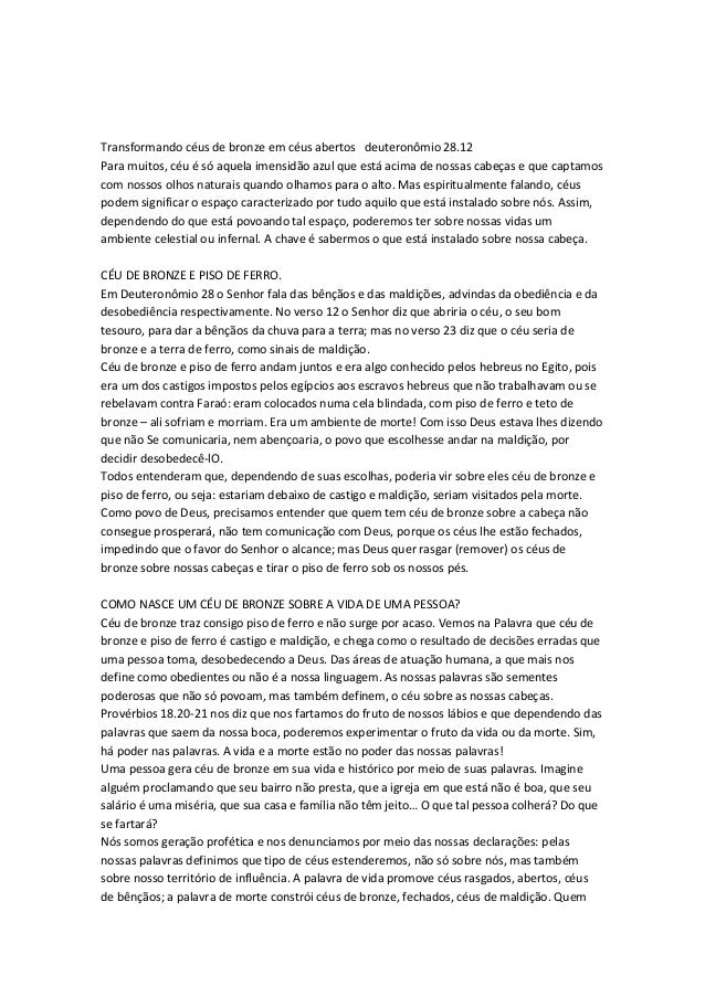 TRANSFORMANDO CÉUS DE BRONZE EM CÉUS ABERTOS! 14transformand 1/10 Transformando céus de bronze em céus abertos deuteronômi...