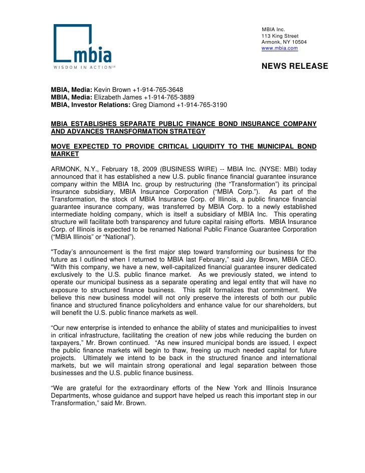 MBIA Letter