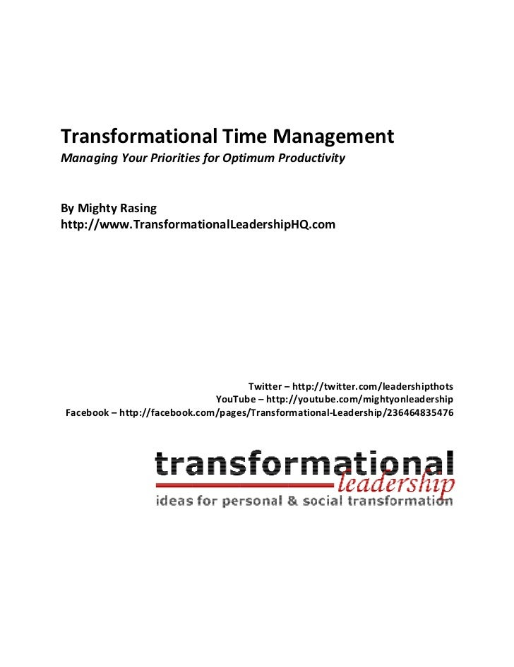 Transformational time-management