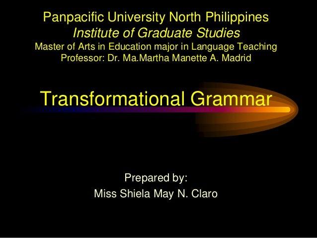 Panpacific University North Philippines Institute of Graduate Studies Master of Arts in Education major in Language Teachi...