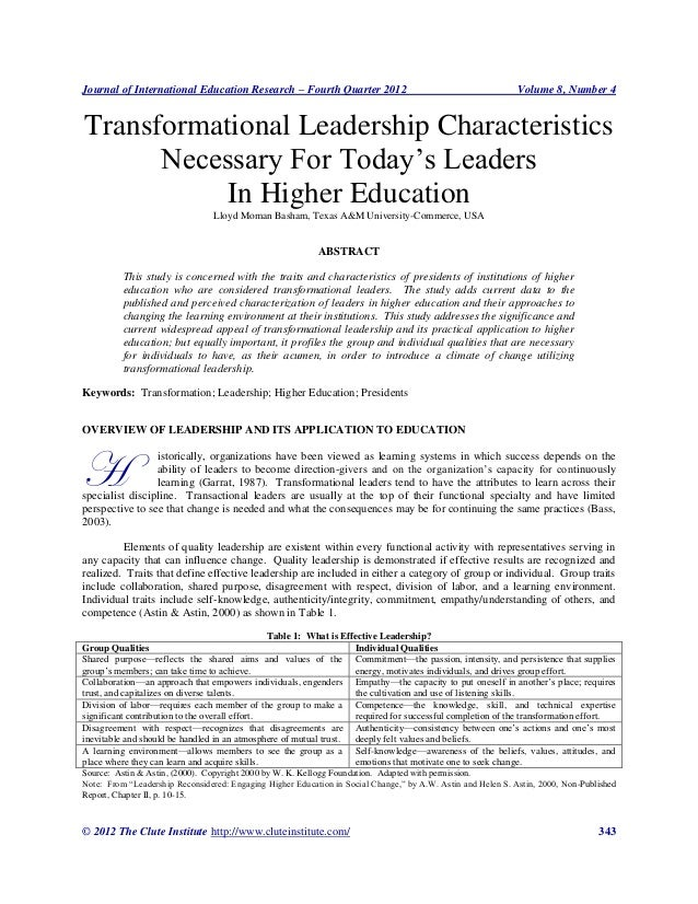 Transformational leadership characteristics necessary for today's leaders