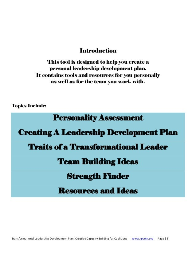 personal leadership development plan example - Kubre.euforic.co