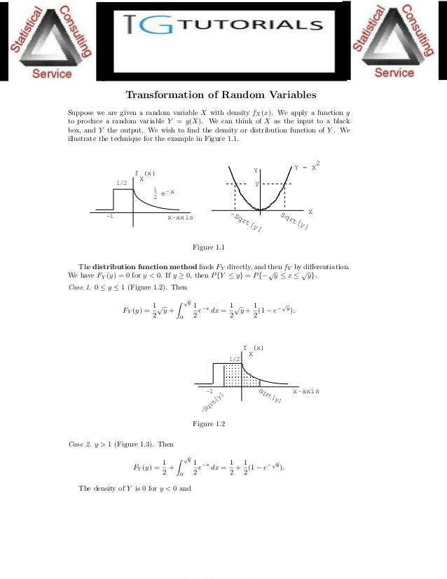 1 Lecture 1. Transformation of Random Variables Suppose we are given a random variable X with density fX(x). We apply a fu...