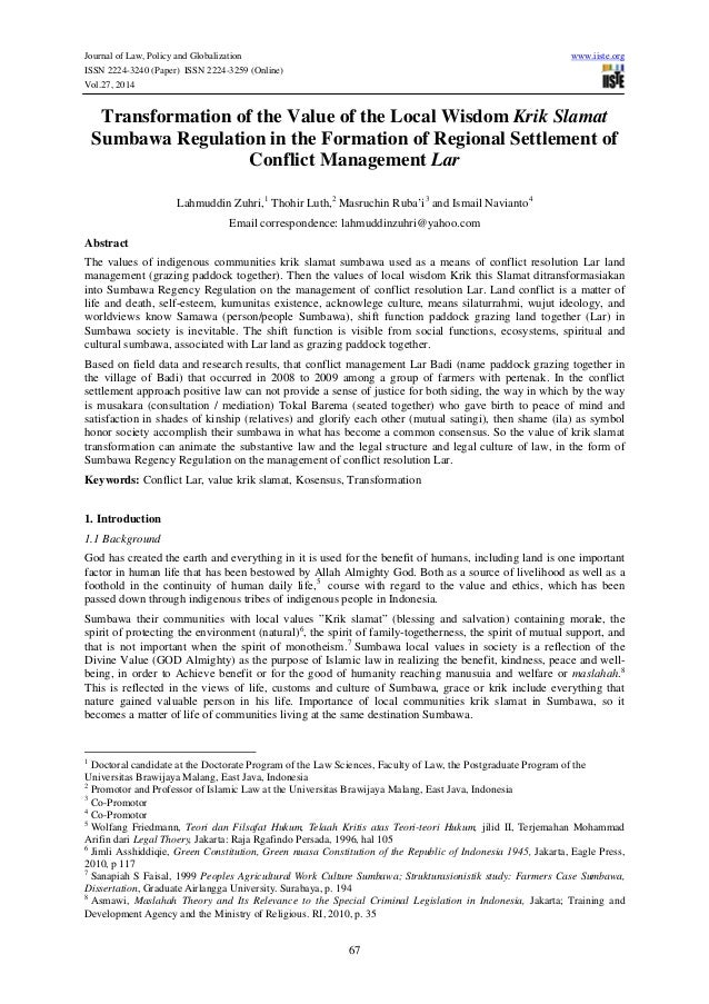 Journal of Law, Policy and Globalization www.iiste.org ISSN 2224-3240 (Paper) ISSN 2224-3259 (Online) Vol.27, 2014 67 Tran...