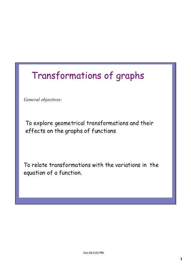 1Oct293:50PMTransformations of graphsTo explore geometrical transformations and theireffects on the graphs of functions...