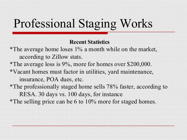 Professional Staging Works                       Recent Statistics*The average home loses 1% a month while on the market, ...