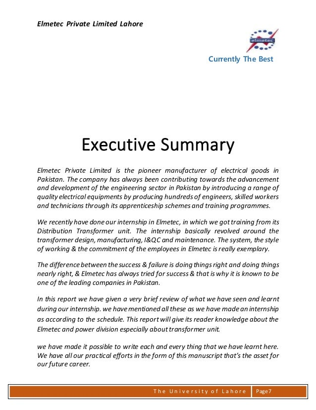 an executive summary of a report on wrt engineered products