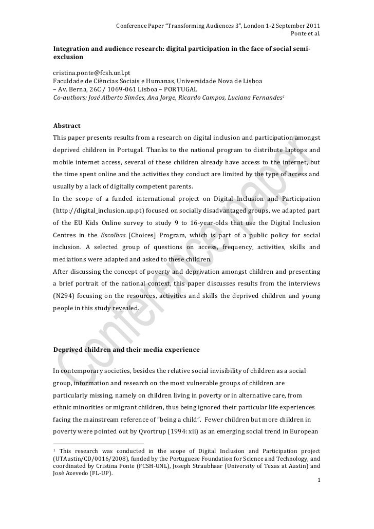 "Conference Paper ""Transforming Audiences 3"", London 1-2 September 2011                                                    ..."