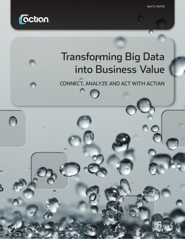 WHITE PAPER  Transforming Big Data into Business Value Connect, Analyze and Act with Actian