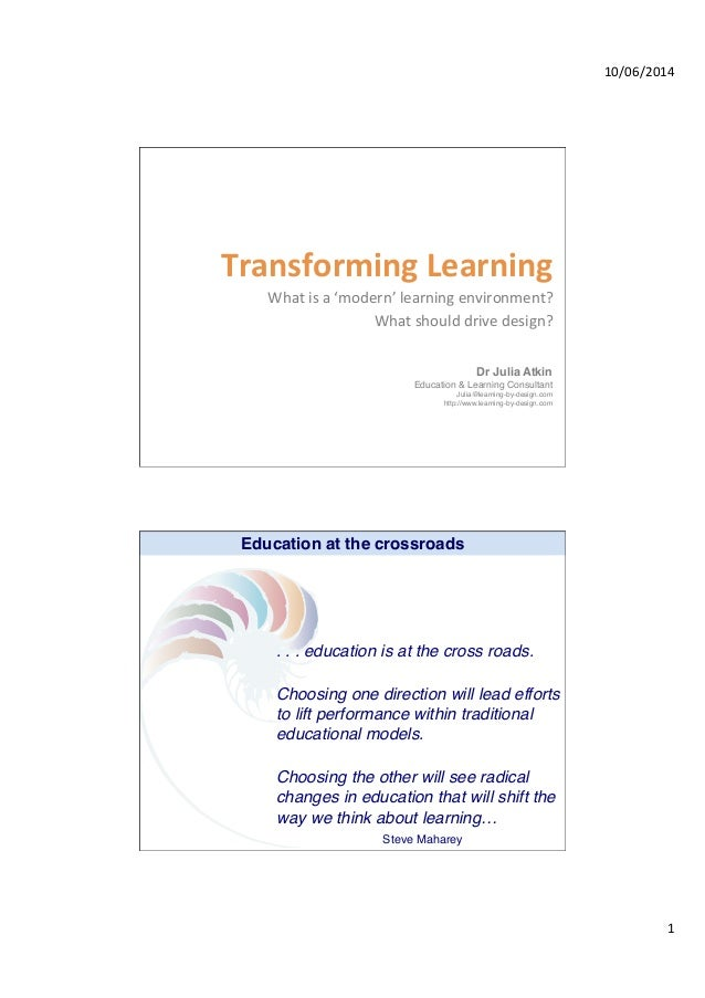10/06/2014   1   Transforming  Learning     What  is  a  'modern'  learning  environment?   What  ...