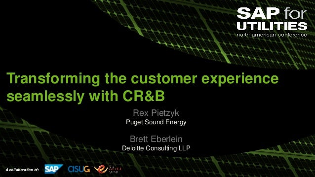 A collaboration of: Rex Pietzyk Puget Sound Energy Brett Eberlein Deloitte Consulting LLP Transforming the customer experi...