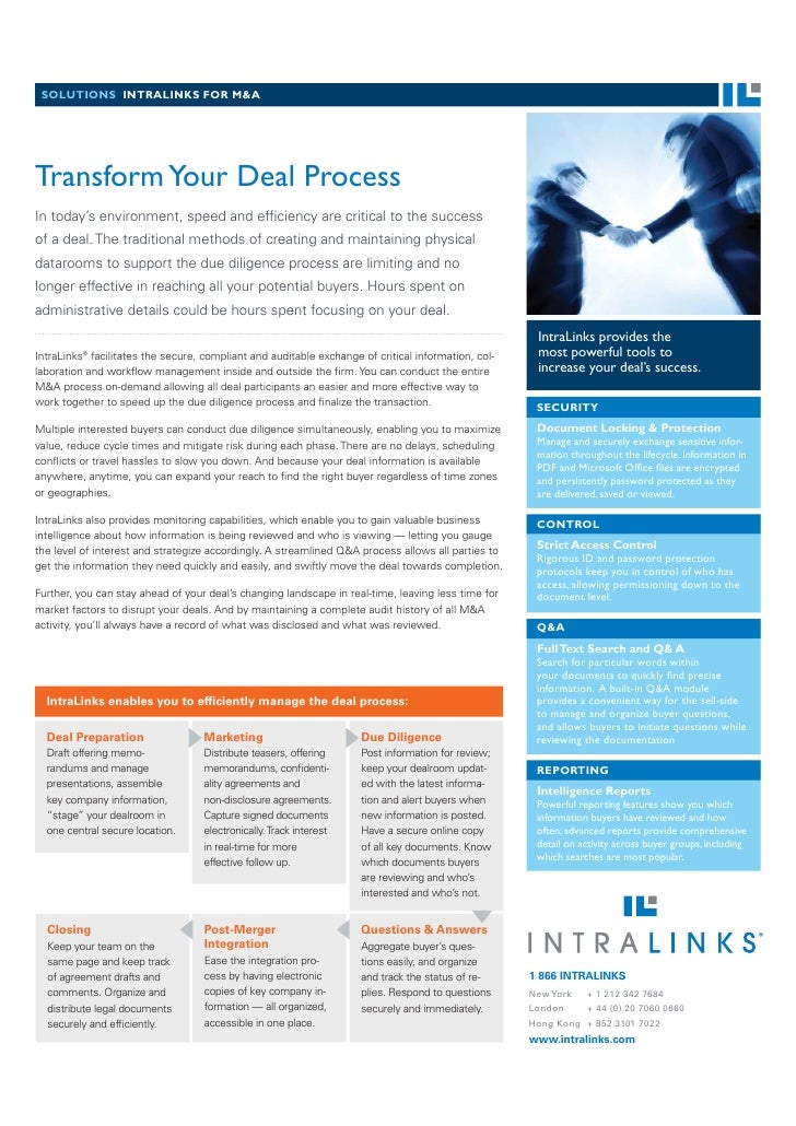 SOLUTIONS INTRALINKS FOR M&A     Transform Your Deal Process In today's environment, speed and efficiency are critical to t...