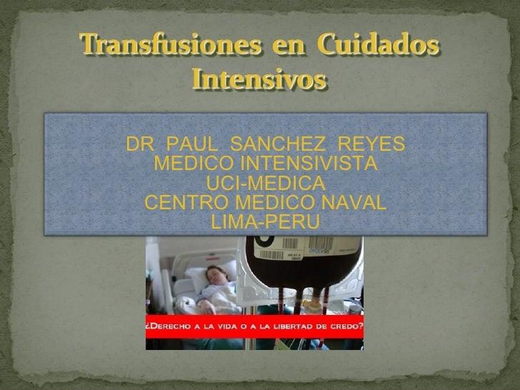 Transfuciones en UCI
