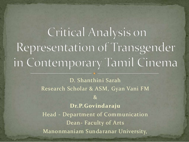 Shanthini Sarah, Dr.P.GovindarajuCritical analysis on representation of Third gender in contemporary Tamil cinema