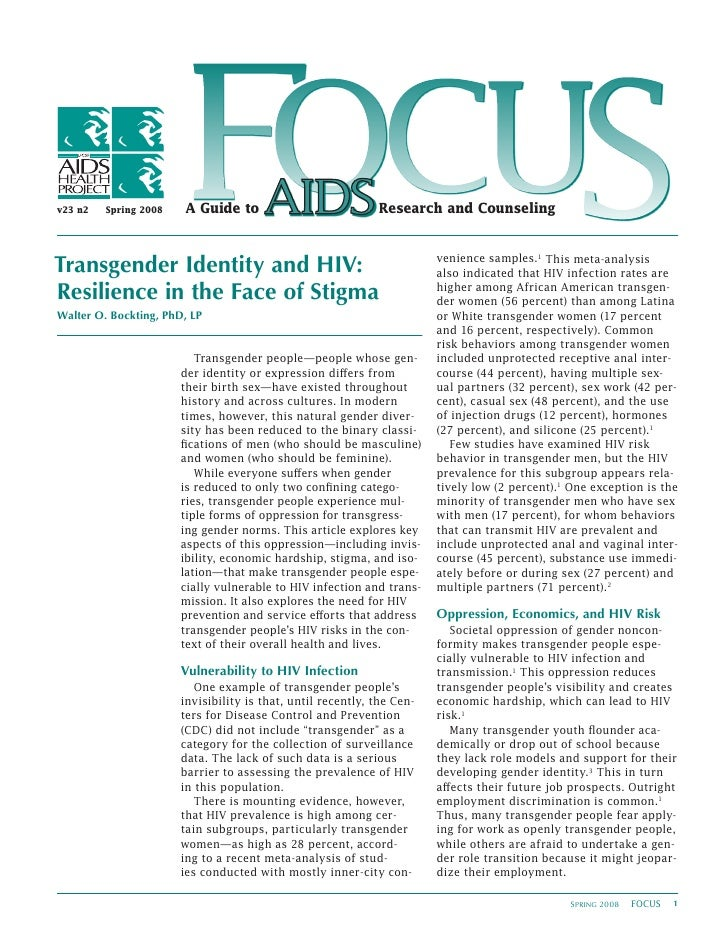 Transgender Identity And HIV : Resilience In The Face Of Stigma