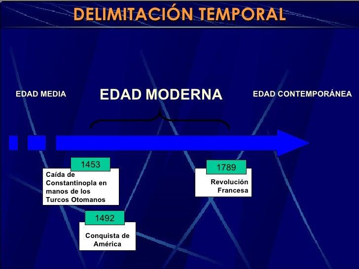 DELIMITACIÓN TEMPORAL    EDAD MEDIA         EDAD MODERNA             EDAD CONTEMPORÁNEA                   1453            ...