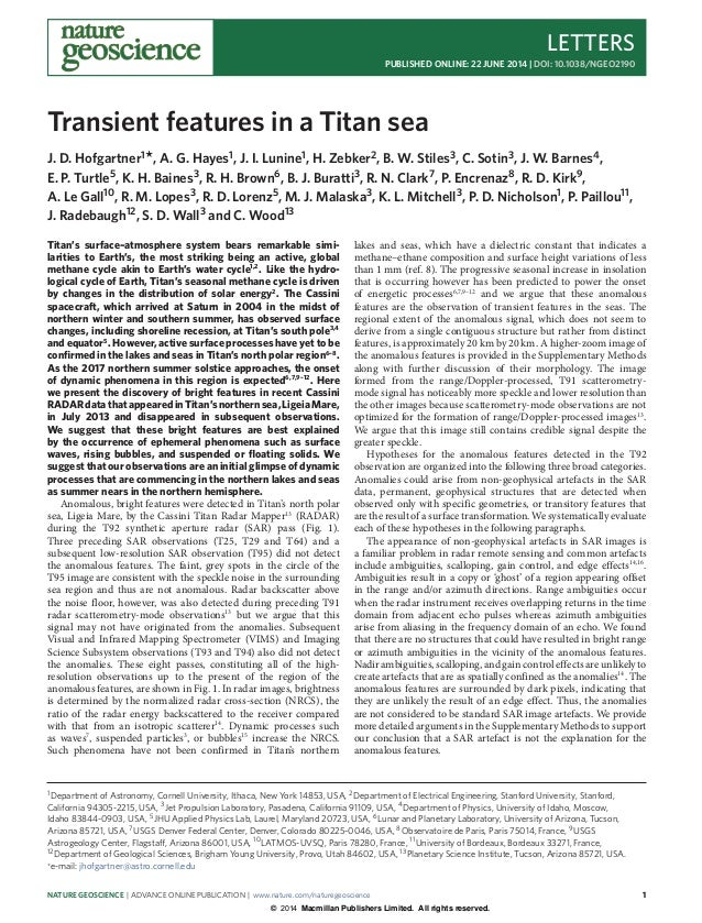 Transient features in_a_titan_sea
