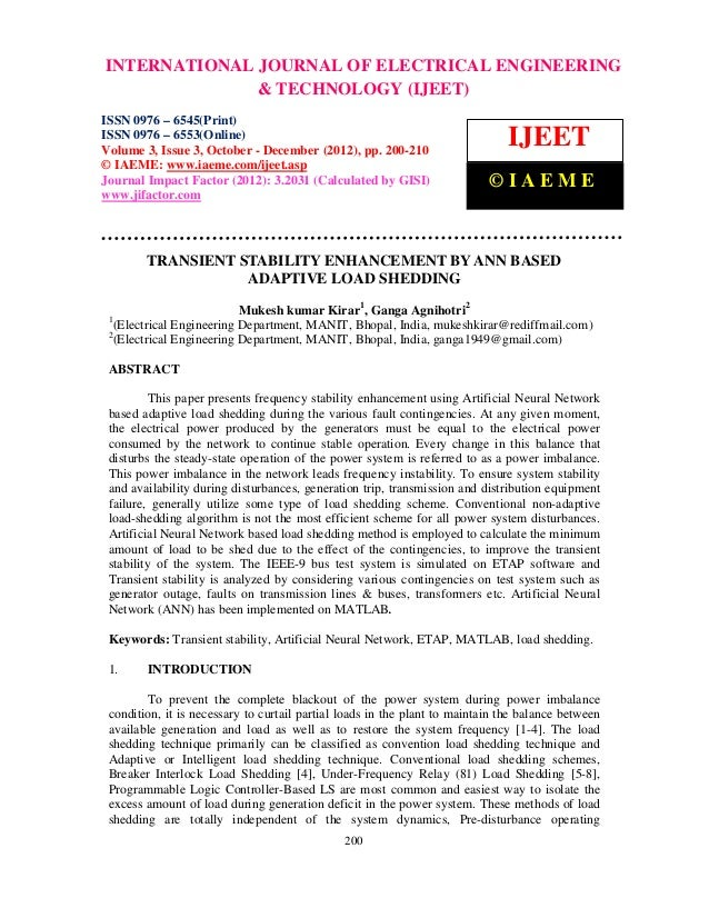 Transient stability enhancement by ann based