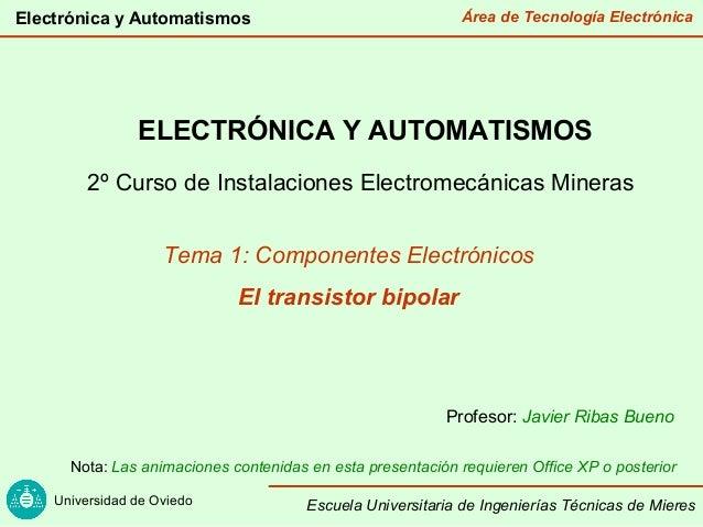 Área de Tecnología Electrónica Universidad de Oviedo Electrónica y Automatismos Escuela Universitaria de Ingenierías Técni...