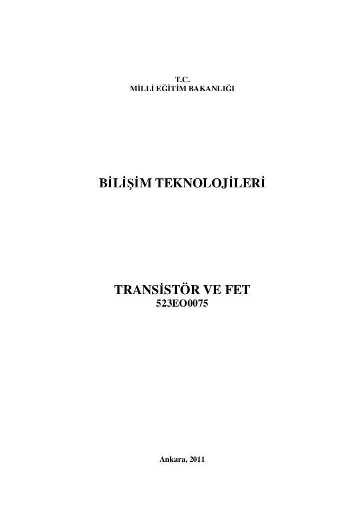 Transistör ve fet