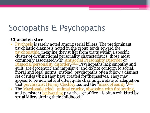 the distinct characteristics of a psychopath