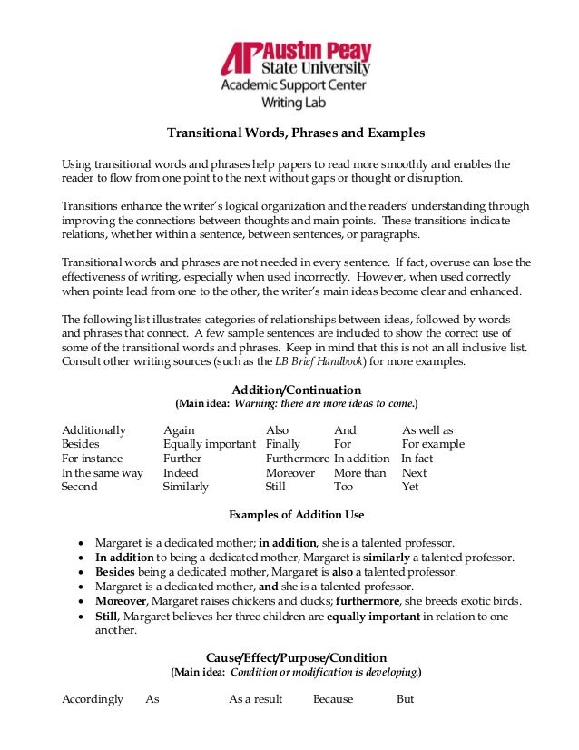 what are good transition words in essays