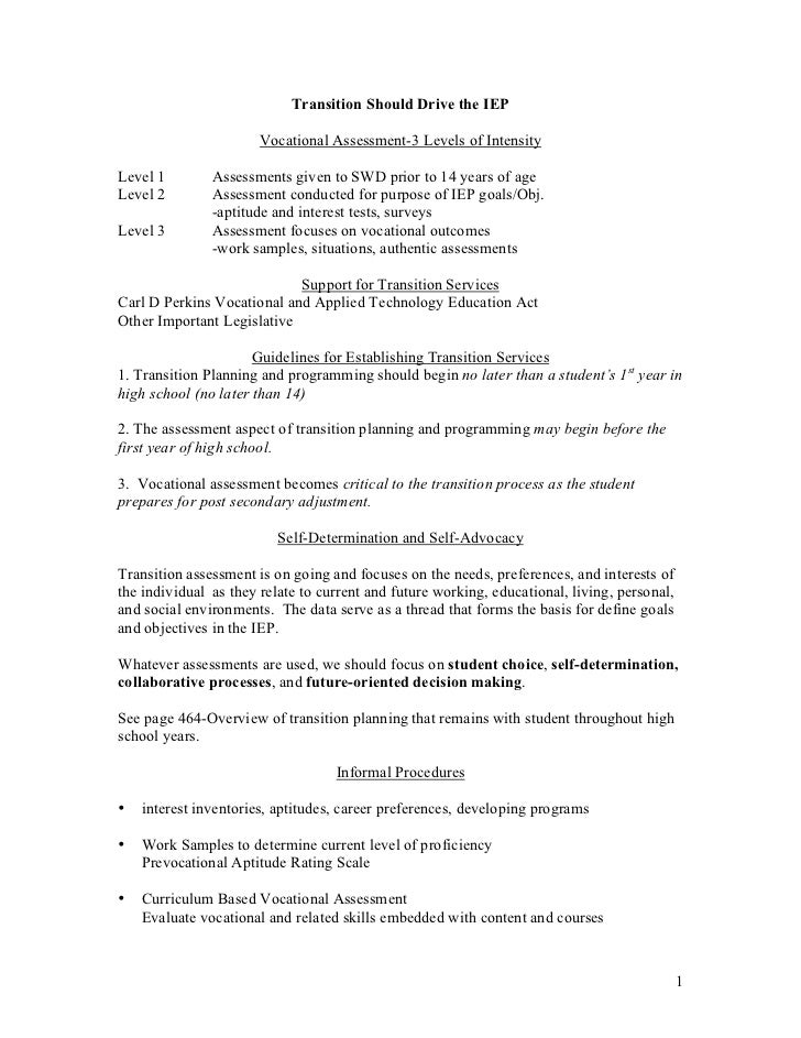 Transition Should Drive the IEP                         Vocational Assessment-3 Levels of Intensity  Level 1        Assess...