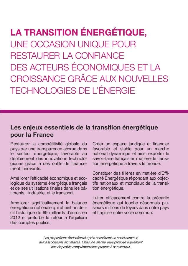 La TransiTion énErgéTiquE, unE occasion uniquE pour rEsTaurEr La conFiancE dEs acTEurs économiquEs ET La croissancE grâcE ...