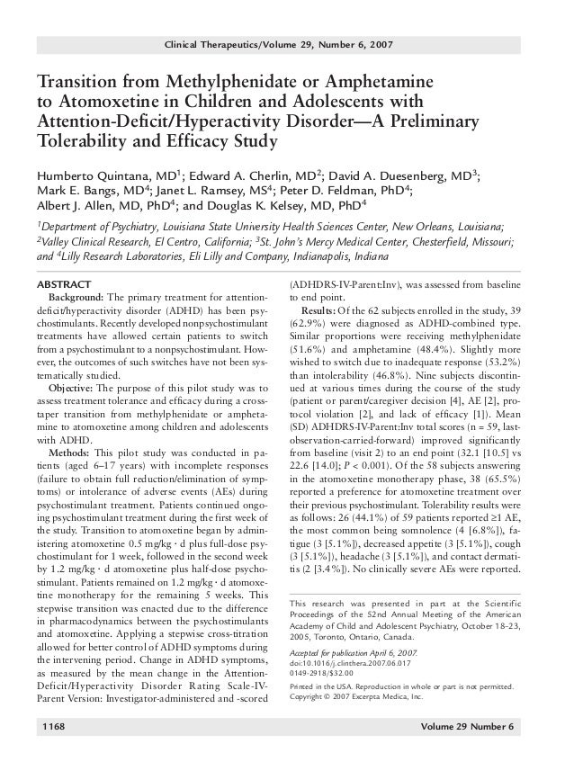 Transition from methylphenidate or amphetamine to atomoxetine in children and adolescents