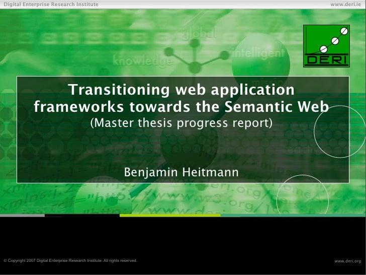 Transitioning web application frameworks towards the Semantic Web (master thesis progress report)