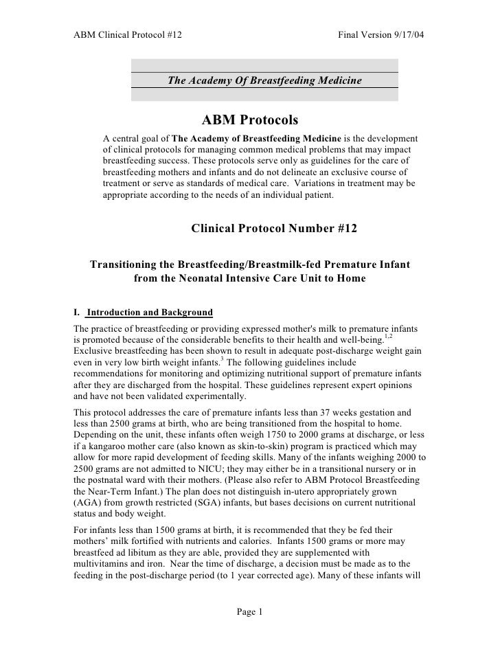 ABM Clinical Protocol #12                                           Final Version 9/17/04                            The A...