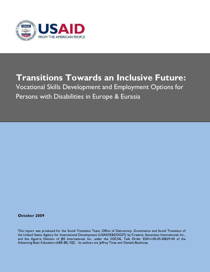 Transitions Towards An Inclusive Future Community Based Vocational Skills Development And Employment Options For Persons With Disabilities In Ee