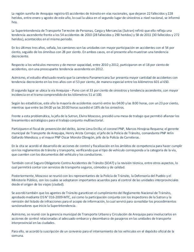 La región sureña de Arequipa registra 65 accidentes de tránsito en vías nacionales, que dejaron 22 fallecidos y 228heridos...